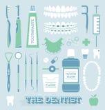 Vettore fissato: Icone di cura del dente e del dentista Fotografia Stock