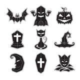 Vettore fissato icone di Halloween Immagini Stock