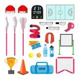 Vettore fissato icone di lacrosse Accessori di lacrosse Portoni, rete, vetri, maschera, bastone, casco, scatola, temporizzatore,  royalty illustrazione gratis