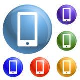 Vettore fissato icone di Smartphone illustrazione di stock