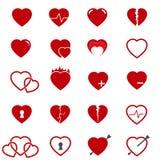 Vettore fissato icone rosse del cuore Fotografie Stock Libere da Diritti