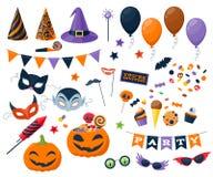 Vettore fissato icone variopinte del partito di Halloween Fotografia Stock Libera da Diritti