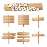 Vettore fissato insegne di legno Insegna vuota del fumetto Freccia, plancia con le crepe Elementi materiali di legno Spazio per t illustrazione vettoriale