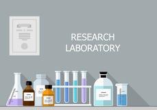 Vettore fissato - laboratorio di ricerca chimico Progettazione piana Fotografia Stock Libera da Diritti