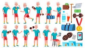 Vettore fissato pose dell'uomo anziano Anziani Persona senior invecchiato Sport, forma fisica Pensionato comico lifestyle cartoli illustrazione vettoriale