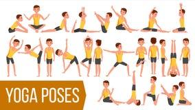 Vettore fissato pose dell'uomo di yoga Rilassamento e meditazione Allungamento e torcere esercitarsi Corpo nelle pose differenti illustrazione vettoriale