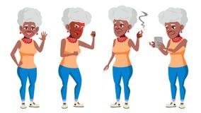 Vettore fissato pose della donna anziana nero Afroamericano Anziani Persona senior invecchiato Pensionato comico lifestyle illustrazione vettoriale