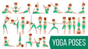 Vettore fissato pose della donna di yoga Rilassamento e meditazione Allungamento e torcere esercitarsi Corpo nelle pose different illustrazione di stock