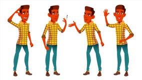 Vettore fissato pose teenager del ragazzo Indiano, indù Asiatico Sveglio, comico gioia Per la cartolina, annuncio, progettazione  illustrazione di stock