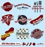 Vettore fissato: Retro contrassegni delle carni e del BBQ Fotografie Stock Libere da Diritti