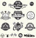 Vettore fissato: Retro etichette della macchina da corsa Immagini Stock