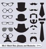 Vettore fissato: Vetri, baffi, cappelli e legami Immagini Stock Libere da Diritti