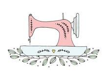 Vettore floreale disegnato a mano della macchina per cucire Fotografie Stock Libere da Diritti