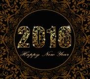 Vettore - 2016 fondo piano del buon anno 2016 con stile floreale della carta di progettazione del modello illustrazione di stock