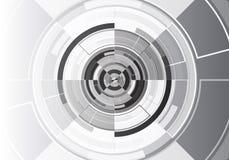 Vettore futuristico moderno del fondo di progettazione bianca nera del cerchio di tecnologia illustrazione vettoriale