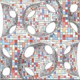 Vettore geometrico del fondo del modello del mosaico d'annata dei pantaloni a vita bassa Fotografia Stock