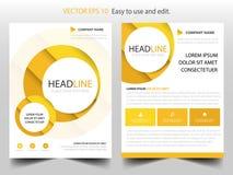 Vettore giallo del modello di progettazione dell'opuscolo del rapporto annuale del cerchio Manifesto infographic della rivista de illustrazione vettoriale