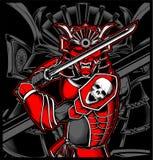Vettore giapponese dell'illustrazione del cranio del samurai royalty illustrazione gratis