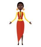 Vettore - giovane donna africana colpita Immagine Stock