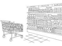 Vettore grafico bianco nero interno dell'illustrazione di schizzo del negozio della drogheria Immagini Stock