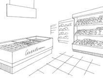 Vettore grafico bianco nero interno dell'illustrazione di schizzo del negozio della drogheria royalty illustrazione gratis