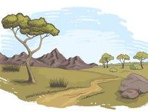 Vettore grafico dell'illustrazione di schizzo del paesaggio di colore di via della savana Fotografie Stock Libere da Diritti
