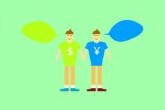 Vettore grafico di di due uomini con valuta di soldi sulla camicia Immagini Stock Libere da Diritti
