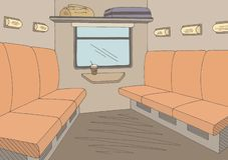 Vettore grafico interno dell'illustrazione di schizzo di colore del treno illustrazione di stock