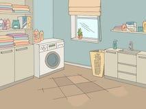 Vettore grafico interno dell'illustrazione di schizzo di colore della casa della stanza di lavanderia illustrazione di stock