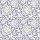 Vettore Grey Decorative Roses d'argento e fondo senza cuciture del modello di ripetizione delle foglie Grande per le carte fatte  Fotografia Stock