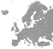 Vettore Grey Europe Map Immagini Stock