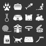 Vettore grigio fissato icone degli strumenti di cura del gatto royalty illustrazione gratis