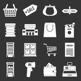 Vettore grigio fissato icone del supermercato illustrazione di stock