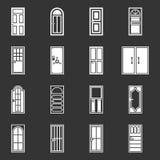 Vettore grigio fissato icone della porta royalty illustrazione gratis