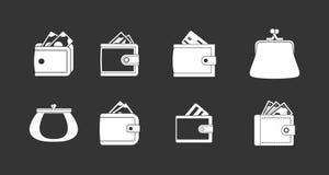 Vettore grigio stabilito dell'icona del portafoglio illustrazione vettoriale