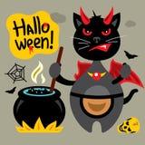 Vettore Halloween Cat Cartoon Illustration nera pazza illustrazione vettoriale