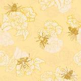 Vettore Honey Yellow Bees con il fondo senza cuciture del modello delle rose royalty illustrazione gratis