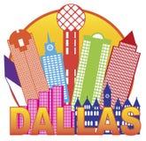 Vettore Illustrati di Dallas City Skyline Color Circle Immagine Stock Libera da Diritti