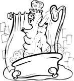 Vettore, illustrazione, in bianco e nero, maiale che prende una doccia, schiuma, bagno, acqua, vapore, piacere, calma illustrazione di stock