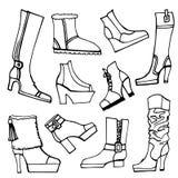 Vettore impreciso del profilo Scarpe delle femmine, stivali messi Immagini Stock Libere da Diritti