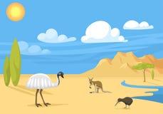 Vettore indigeno australiano della foresta del fondo dell'Australia del paesaggio degli animali del fumetto di stile piano popola illustrazione vettoriale