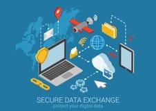 Vettore infographic di concetto di protezione dei dati isometrica piana 3d Immagini Stock