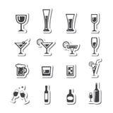 Vettore insieme dell'icona della bevanda Immagine Stock Libera da Diritti