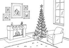 Vettore interno bianco dell'illustrazione di schizzo del salone del nero grafico dell'albero di Natale Fotografia Stock