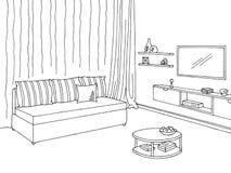 Vettore interno bianco nero grafico dell'illustrazione di schizzo del salone Fotografie Stock Libere da Diritti