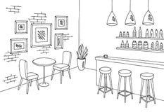Vettore interno bianco nero grafico dell'illustrazione di schizzo della barra del caffè Fotografia Stock Libera da Diritti