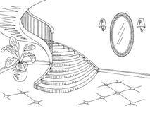 Vettore interno domestico bianco nero grafico dell'illustrazione di schizzo di corridoio Fotografia Stock