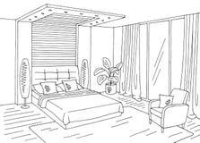 Vettore interno domestico bianco nero grafico dell'illustrazione di schizzo della camera da letto Immagini Stock