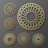 Vettore islamico dell'ornamento, motiff persiano elementi rotondi del modello di 3d il Ramadan Insieme geometrico del modello di  Fotografia Stock