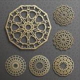 Vettore islamico dell'ornamento, motiff persiano elementi rotondi del modello di 3d il Ramadan Insieme geometrico del modello di  Fotografie Stock